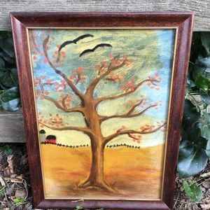 Vintage 60's 70's Tree Nature Scene Oil Painting